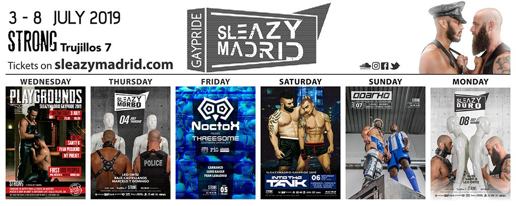 sleazymadrid GayPride 2019 main parties horizontal